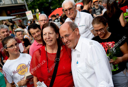 The President of the Party of the European Left, Gregor Gysi (R) attends during an election campaign event of the Left party (Die Linke) in Dresden, Germany, 29 August 2019. Regional elections in the German federal state of Saxony will be held on 01 September 2019.