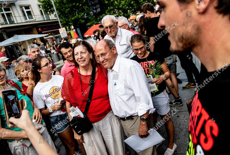 The President of the Party of the European Left, Gregor Gysi (C) attends during an election campaign event of the Left party (Die Linke)  in Dresden, Germany, 29 August 2019. Regional elections in the German federal state of Saxony will be held on 01 September 2019.