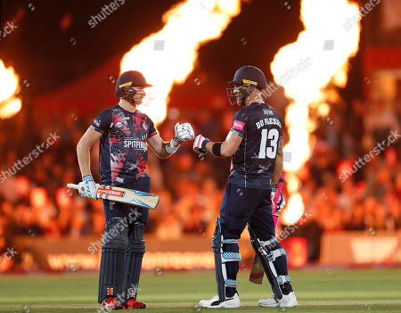 Sam Billings (L) and Faf du Plessis (R) of Kent during Kent Spitfires vs Gloucestershire, Vitality Blast T20 Cricket at The Spitfire Ground on 29th August 2019