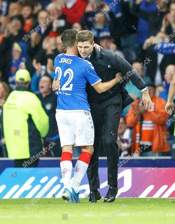 Stock Image of Rangers manager Steven Gerrard (R) celebrates with Jordan Jones (L) after the UEFA Europa League playoff, second leg soccer match between Glasgow Rangers and Legia Warsaw in Glasgow, Britain, 29 August 2019.