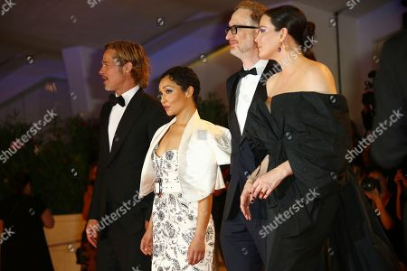 Brad Pitt, Ruth Negga, James Gray, Liv Tyler. Actors Brad Pitt, Ruth Negga, Director James Gray and Liv Tyler pose for photographers upon arrival at the premiere of the film 'Ad Astra' at the 76th edition of the Venice Film Festival, Venice, Italy