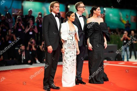 Liv Tyler, Ruth Negga, Brad Pitt, James Gray. Actress Liv Tyler, from right, director James Gray, actors Ruth Negga and Brad Pitt pose for photographers upon arrival at the premiere of the film 'Ad Astra' at the 76th edition of the Venice Film Festival, Venice, Italy