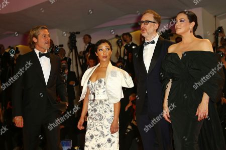 Liv Tyler, Ruth Negga, Brad Pitt, James Gray. Actors Brad Pitt, from left, Ruth Negga, director James Gray and Liv Tyler pose for photographers upon arrival at the premiere of the film 'Ad Astra' at the 76th edition of the Venice Film Festival, Venice, Italy