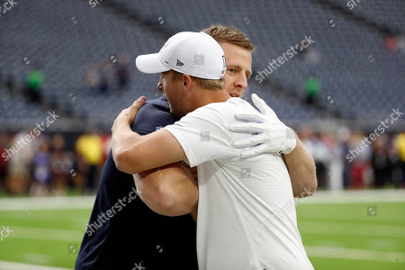 Stock Photo of Los Angeles Rams quarterback Jared Goff and Houston Texans' J. J. Watt hug before a preseason NFL football game, in Houston