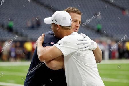 Los Angeles Rams quarterback Jared Goff and Houston Texans' J. J. Watt hug before a preseason NFL football game, in Houston