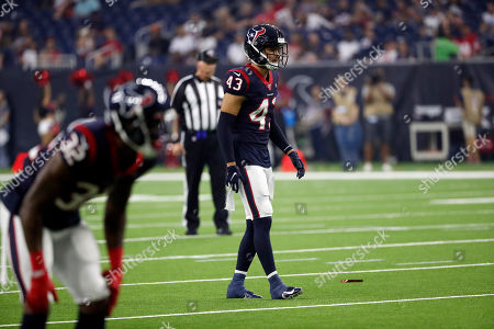 Houston Texans safety Chris Johnson (43) lines up against the Los Angeles Rams during the first half of a preseason NFL football game, in Houston