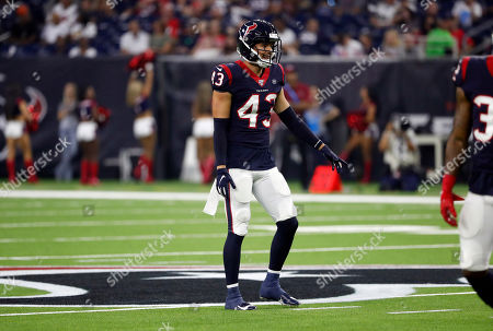 Stock Image of Houston Texans safety Chris Johnson (43) lines up against the Los Angeles Rams during the first half of a preseason NFL football game, in Houston