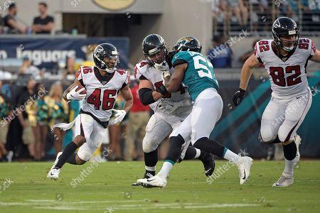 Atlanta Falcons running back Tony Brooks-James (46) runs against the Jacksonville Jaguars during the first half of an NFL preseason football game, in Jacksonville, Fla