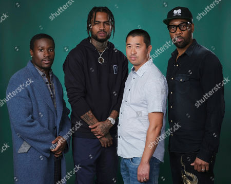 "Shameik Moore, RZA, Dave East, Alex Tse. This photo shows RZA, right, and Alex Tse, second from right, co-creators of the Hulu series ""Wu-Tang: An American Saga,"" posing with cast members Shameik Moore, left, and Dave East during the 2019 Television Critics Association Summer Press Tour at the Beverly Hilton in Beverly Hills, Calif"