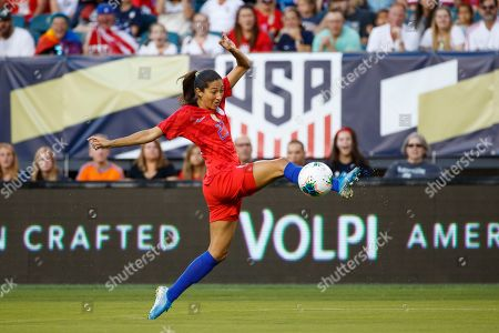 United States' Christen Press in action during an international friendly soccer match against Portugal, in Philadelphia