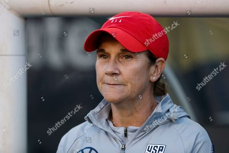 United States' Jill Ellis watches before during an international friendly soccer match against Portugal, in Philadelphia