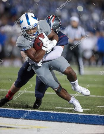 Buffalo Bulls running back Ron Cook Jr. (23) scores a touchdown to put the Bulls up 38-10 during the third quarter of play in the NCAA Football game between the Robert Morris Colonials and Buffalo Bulls at UB Stadium in Amherst, N.Y. (Nicholas T