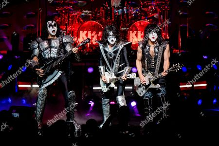 Gene Simmons, Tommy Thayer, Paul Stanley. Gene Simmons, from left, Tommy Thayer and Paul Stanley of KISS perform at the Riverbend Music Center, in Cincinnati, OH