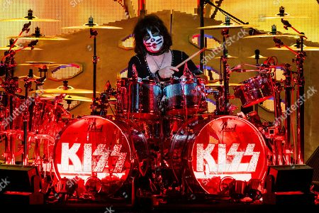Stock Photo of Eric Singer of KISS performs at the Riverbend Music Center, in Cincinnati, OH