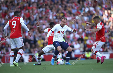 Alexandre Lacazette (A) Nicolas Pepe (A) Christian Eriksen (TH) Lucas Torreira (A) at the Arsenal v Tottenham Hotspur, English Premier League game, at The Emirates Stadium, London, on September 1, 2019. **Editorial use only, license required for commercial use. No use in betting, games or a single club/league/player publications**