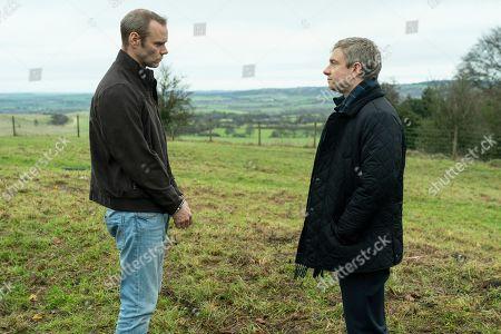 Joe Absolom as Christopher Halliwell and Martin Freeman as Steve Fulcher.