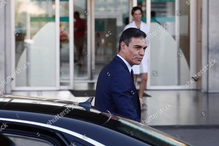 Acting Spanish Prime Minister Pedro Sanchez arrives to visit Spanish Emeritus King Juan Carlos at Quiron Hospital in Pozuelo de Alarcon, Madrid, Spain, 30 August 2019. Emeritus king Juan Carlos recovers in hospital from a triple bypass surgery that was performed on 24 August.