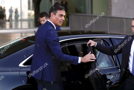 Acting Spanish Prime Minister Pedro Sanchez leaves after visiting Spanish Emeritus King Juan Carlos at Quiron Hospital in Pozuelo de Alarcon, Madrid, Spain, 30 August 2019. Emeritus king Juan Carlos recovers in hospital from a triple bypass surgery that was performed on 24 August.