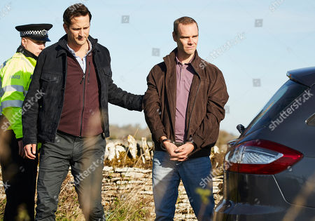 Dominic Tighe as DS Bob Cooper and Joe Absolom as Christopher Halliwell.
