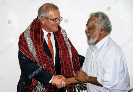 Former Prime Minister of East Timor Xanana Gusmao (R) shakes hands with Australian Prime Minister Scott Morrison (L) during their meeting in Dili, East Timor, also known as Timor-Leste, 30 August 2019. Morrison is in East Timor to attend a celebration of the 20th anniversary of the initiation of the independence referendum (popular consultation) and the arrival of International Force East Timor (INTERFET) - a multinational peacemaking taskforce - in Timor-Leste.
