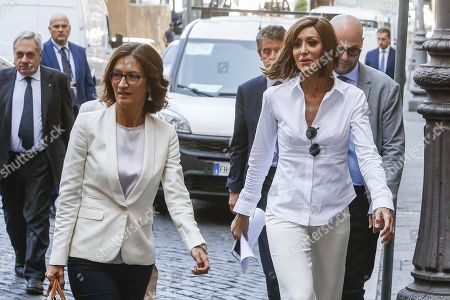 Forza Italia party House Whip Maria Stella Gelmini (L) and Forza Italia party Senate Whip Anna Maria Bernini (R) arrive at the Lower House to meet with Italian Premier-designate Giuseppe Conte, in Rome, Italy, 30 August 2019. Premier-designate Giuseppe Conte is carrying out government-formation consultations with Italy's political parties. Italian President Mattarella on 29 August handed outgoing Premier Giuseppe Conte a mandate to form a government.
