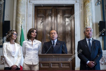 Leader of Forza Italia party Silvio Berlusconi (C), flanked by Forza Italia party House Whip Maria Stella Gelmini (L), Forza Italia party Senate Whip Anna Maria Bernini (2-L) and Forza Italia deputy leader Antonio Tajani (R), addresses the media after a meeting with designated Italian Prime Minister Giuseppe Conte for a round of consultations in Rome, Italy, 30 August 2019. Italian President Mattarella on 29 August handed outgoing Premier Giuseppe Conte a mandate to form a government.