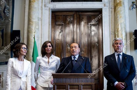 Leader of Forza Italia party Silvio Berlusconi (2-R), flanked by Forza Italia party House Whip Maria Stella Gelmini (L), Forza Italia party Senate Whip Anna Maria Bernini (2-L) and Forza Italia deputy leader Antonio Tajani (R), addresses the media after a meeting with designated Italian Prime Minister Giuseppe Conte for a round of consultations in Rome, Italy, 30 August 2019.   Italian President Mattarella on 29 August handed outgoing Premier Giuseppe Conte a mandate to form a government.