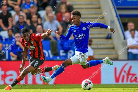 31st August 2019, King Power Stadium, Leicester, England ; Premier League Football, Leicester City vs Bournemouth : Demarai Gray (7) of Leicester City takes on Jefferson Lerma (8) of Bournemouth down the wing