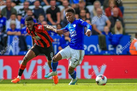 31st August 2019, King Power Stadium, Leicester, England ; Premier League Football, Leicester City vs Bournemouth : Demarai Gray (7) of Leicester City gets past Jefferson Lerma (8) of Bournemouth