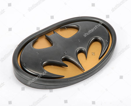 Batman's (Val Kilmer) chest emblem from Joel Schumacher's superhero sequel Batman Forever. Estimate: £3000 - £5000.