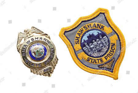 Captain Hadley's (Clancy Brown) badge and embroidered patch from Frank Darabont's Academy Award-nominated prison drama The Shawshank Redemption. Estimate: £600 - £800.
