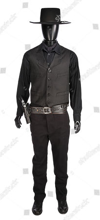 Stock Image of Chisolm's (Denzel Washington) costume, pistol and rig from Antoine Fuqua's Western remake The Magnificent Seven. Estimate: £6000 - £8000.