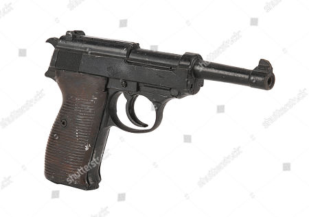 Stock Picture of Colonel Hans Landa's (Christoph Waltz) Walther P38 pistol from Quentin Tarantino's black comedy war film Inglourious Basterds. Estimate: £600 - £800.