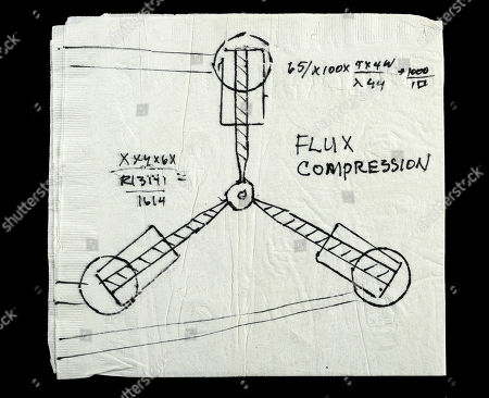 Doc Brown's (Christopher Lloyd) flux capacitor napkin drawing from Robert Zemeckis' sci-fi adventure Back to the Future. Estimate: £2000 - £3000.