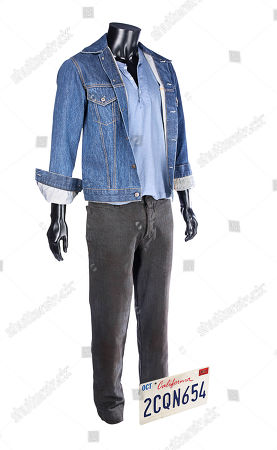 Stock Image of Driver's (Ryan Gosling) costume and a Chevy Impala licence plate from Nicolas Winding Refn's crime drama Drive. Estimate: £2000 - £3000.