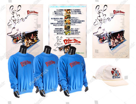 Stock Picture of Hard-back mounted posters, a crew cap and three crew sweatshirts from Robert Zemeckis' Oscar-winning detective comedy Who Framed Roger Rabbit. Estimate: £300 - £500.