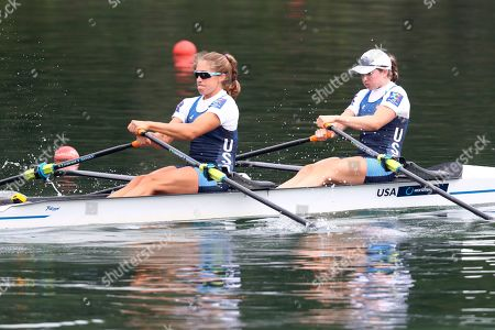 Genevra Stone and Cicely Madden, right, of the United States compete in a Women's Double Sculls semifinal at the World Rowing Championships in Ottensheim, near Linz, Austria