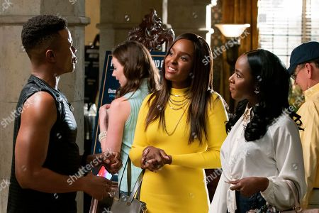 Stock Photo of Marque Richardson as Reggie Green, Antoinette Robertson as Colandrea 'Coco' Conners and Nia Jervier as Kelsey Phillips