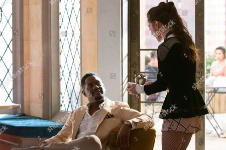 Blair Underwood as Moses Brown and Caitlin Carver as Muffy Tuttle