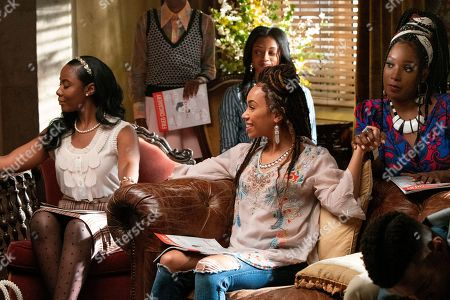 Nia Jervier as Kelsey Phillips, Logan Browning as Samantha White and Ashley Blaine Featherson as Joelle Brooks