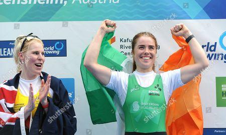 Stock Photo of Women's PR2 W1x A Final. Ireland's Katie O'Brien celebrates winning a bronze medal