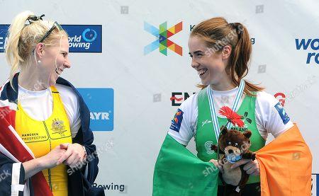 Women's PR2 W1x A Final. Ireland's Katie O'Brien celebrates with her bronze medal