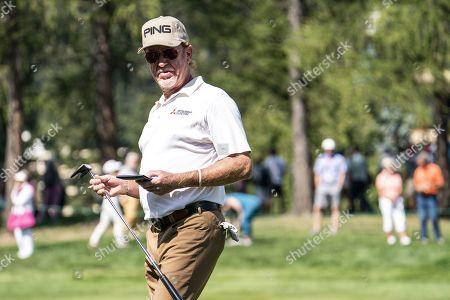 Miguel Angel Jimenez of Spain in action during the second round of the European Masters golf tournament in Crans-Montana, Switzerland, 30 August 2019.