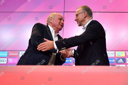 Bayern Munich's president Uli Hoeness and Bayern's chairman Karl-Heinz Rummenigge (R) during a press conference at the Allianz Arena in Munich, Germany, 30 August 2019. Hoeness announced he will not be available for another term as the president of the club and head of the advisory board.