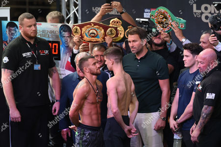 Vasyl Lomachenko and Luke Campbell during a Weigh-In at Old Spitalfields Market on 30th August 2019
