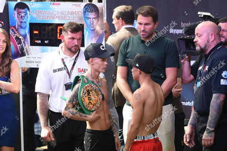 Charlie Edwards and Julio Cesar Martinez during a Weigh-In at Old Spitalfields Market on 30th August 2019