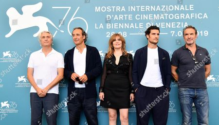 Alain Goldman, French composer Alexandre Desplat and French actors Emmanuelle Seigner, Louis Garrel and Jean Dujardin pose at a photocall for 'J'Accuse' (An Officer and a Spy) during the 76th annual Venice International Film Festival, in Venice, Italy, 30 August 2019. The movie is presented in the official competition 'Venezia 76' at the festival running from 28 August to 07 September.