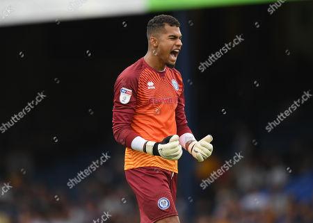 Rochdale Goalkeeper Robert Sanchez celebrates the goal of Aaron Morley of Rochdale, 0-2