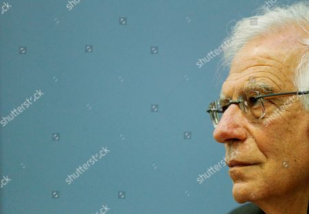 Spanish Foreign minister Josep Borrell during a press conference after meeting with Latvian Foreign minister Edgars Rinkevics in Riga, Latvia, 30 August 2019. Latvian and Spanish Foreign ministers ministers discuss bilateral cooperation, current EU and security issues.