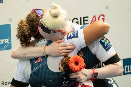 Molly Moore and Jaclyn Smith celebrate winning the Para Women's Pair Final A at the World Rowing Championship 2019 in Linz-Ottensheim, Austria, 30 August 2019.